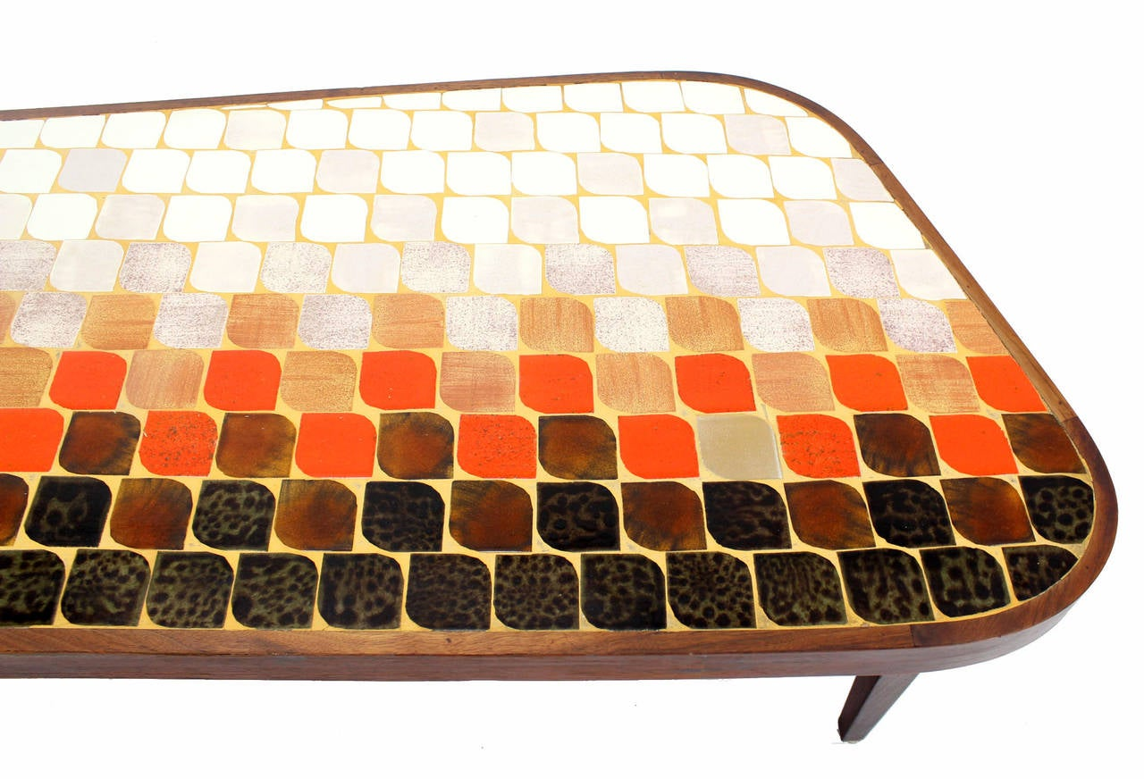 Mid Century Modern Organic Shape Coffee Table with Tile Mosaic Top