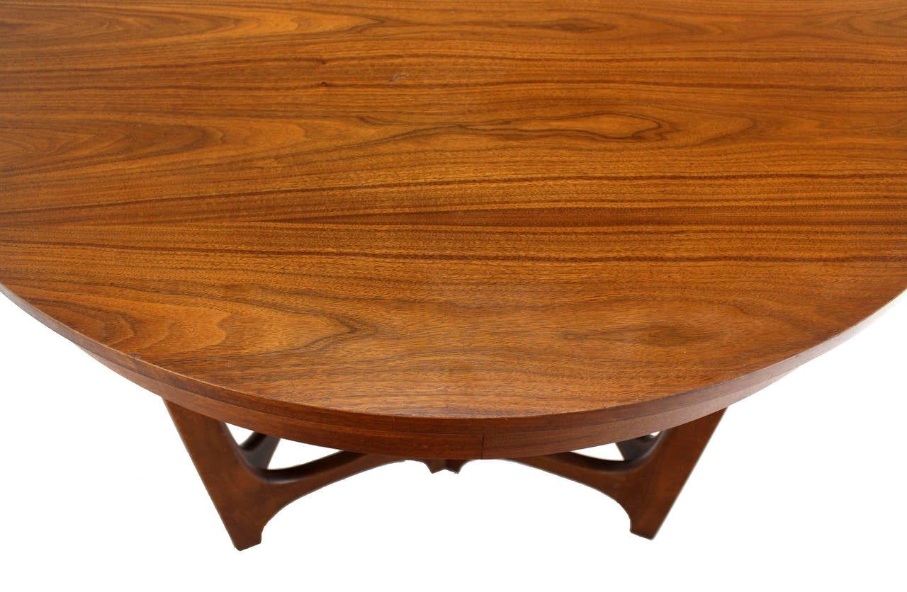 this mid century modern walnut round dining table is no longer
