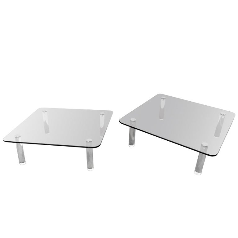 Pair Of Large Square Glass And Lucite Coffee Tables By