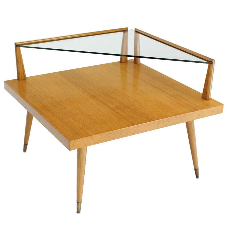 midcentury modern twotier corner coffee or end table 1