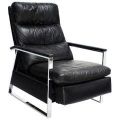 Mid-Century Modern Leather and Chrome Base Recliner by Baughman