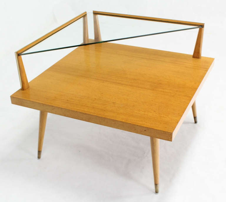 Mid Century Modern Two Tier Corner Coffee Or End Table At 1stdibs