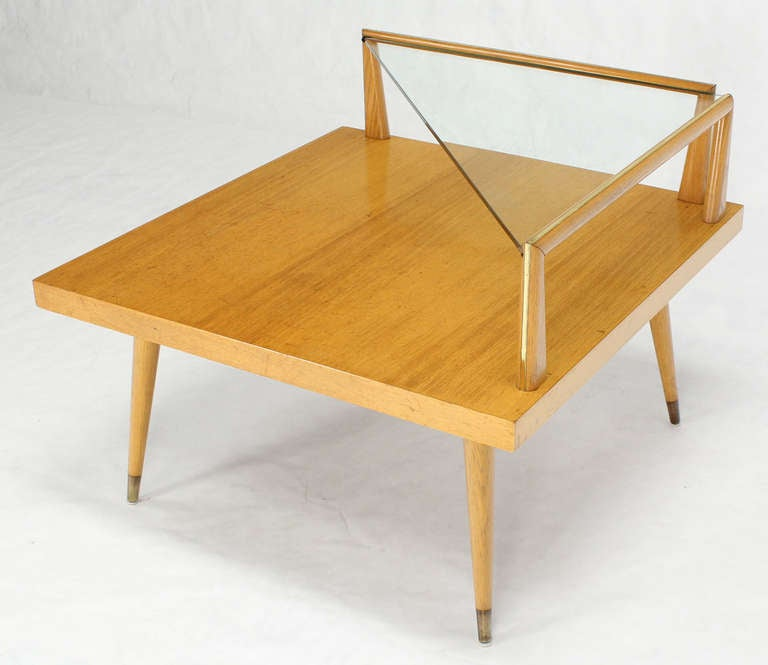 Mid Century Modern Two Tier Corner Coffee Or End Table At