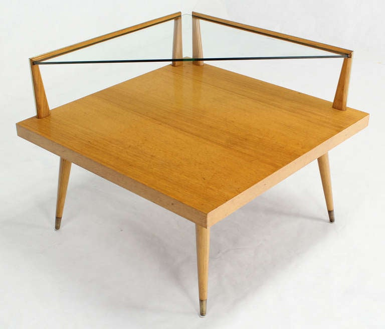 Mid Century Modern Two Tier Corner Coffee End Table At 1stdibs