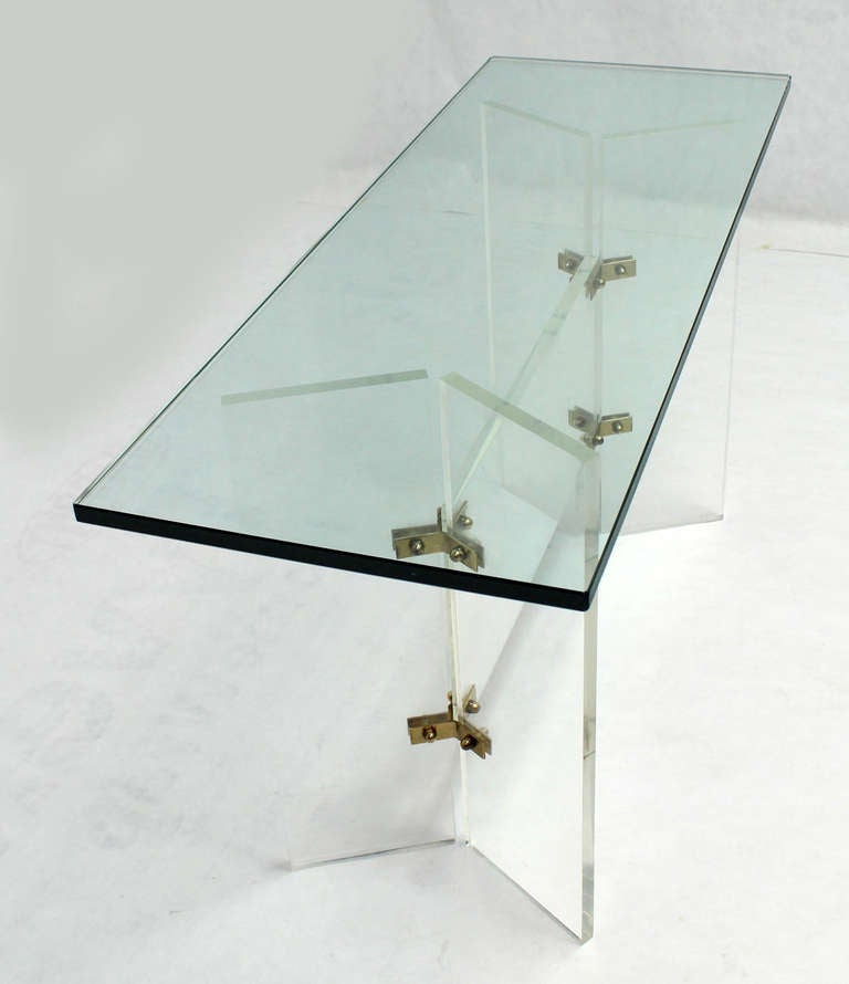 Glass-Top Mid-Century Modern Console Table On Lucite And