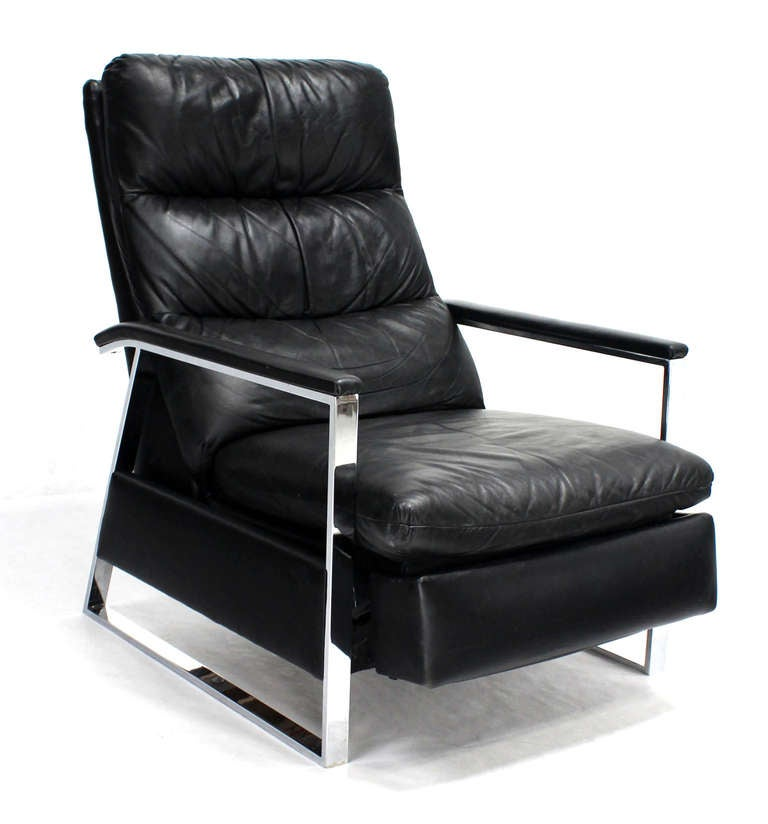 Mid century modern leather and chrome base recliner by for Mid century modern leather chairs