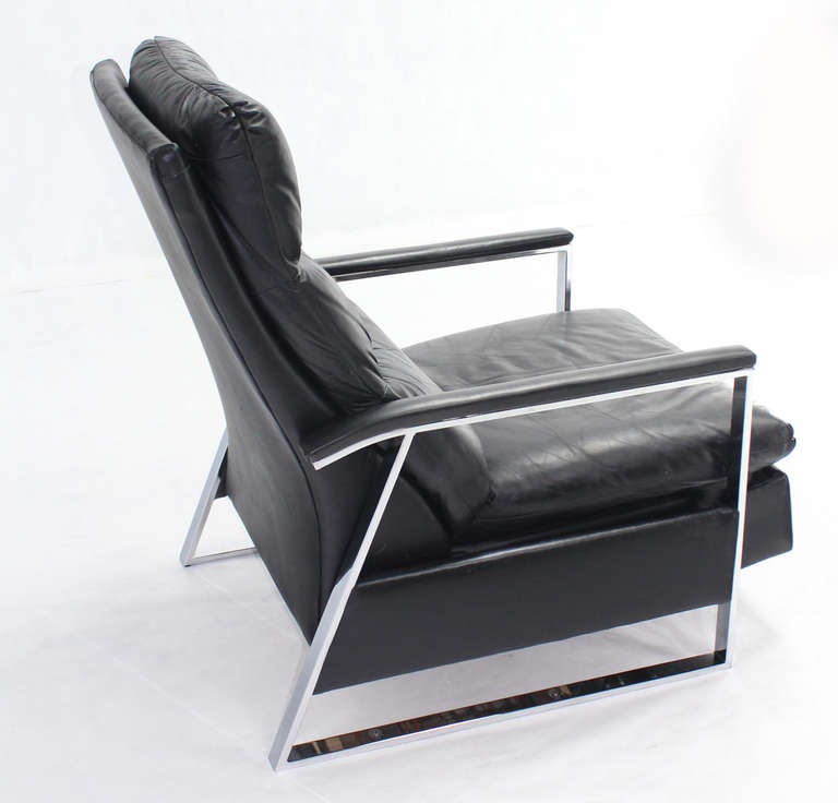 Mid Century Modern Leather and Chrome Base Recliner by