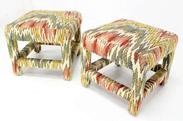 Pair of very nice flame stitch design upholstery mid century modern benches.
