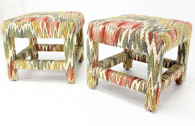 Pair of Flame Stitch Upholstery Mid-Century Modern Benches In Excellent Condition For Sale In Blairstown, NJ