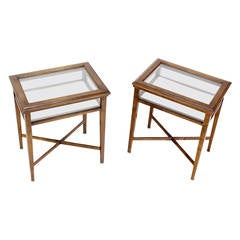 Pair of Glass and Wood Lift-Top Cross Base End Tables