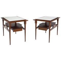 Pair of Mid Century Modern Walnut One Drawer End Tables or Night Stands