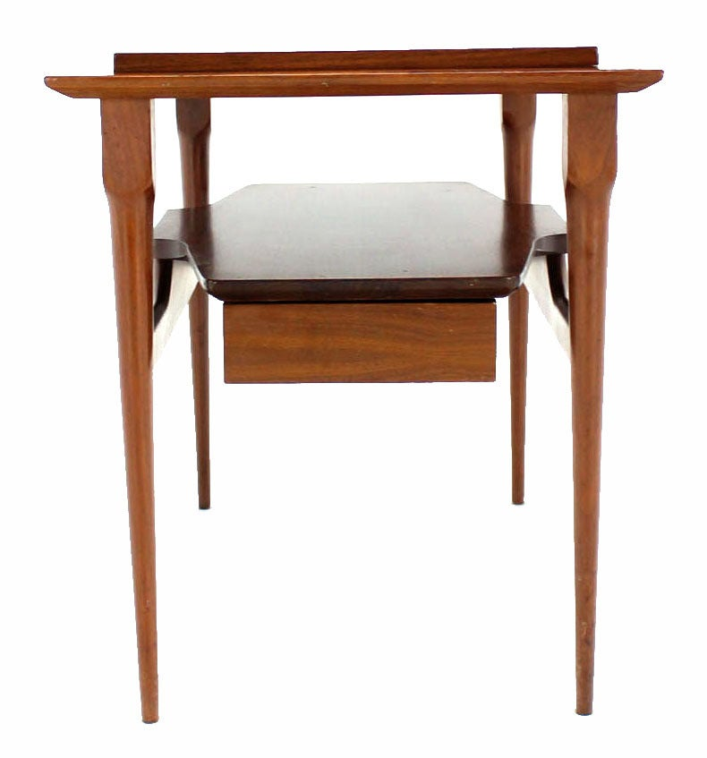 Pair Of Mid Century Modern Walnut One Drawer End Tables Or