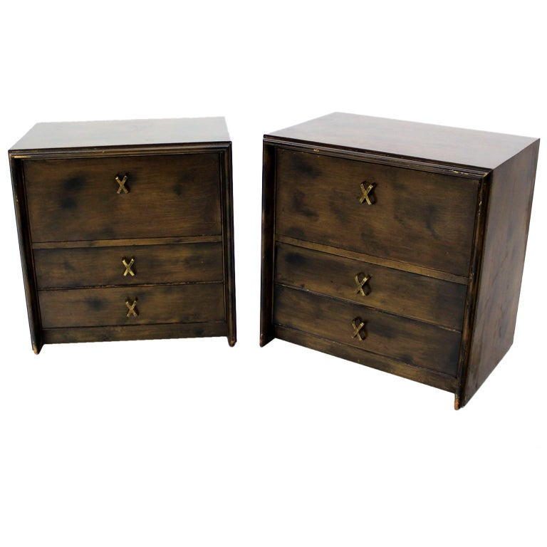 Pair of paul frankl mid century modern night stands brass for Modern nightstands for sale