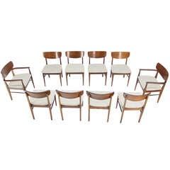 Set of Ten Walnut Dining Chairs Danish Mid Century Modern