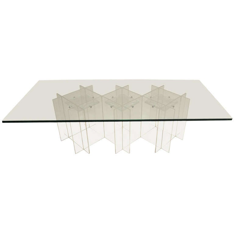 Mid Century Modern Long Rectangular Lucite And Glass Coffee Table For Sale At 1stdibs