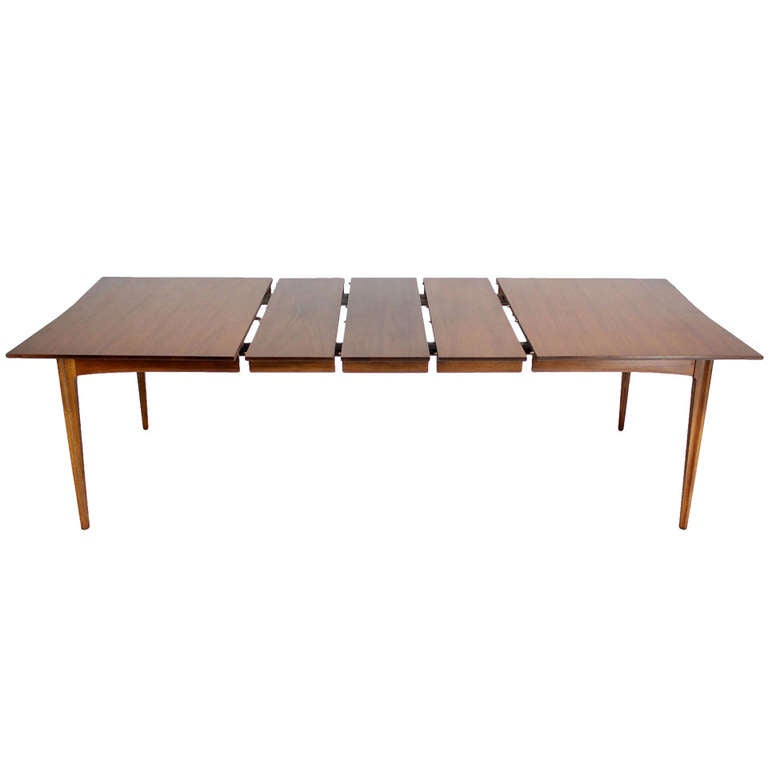 danish mid century modern walnut dining room table w rosewood inserts