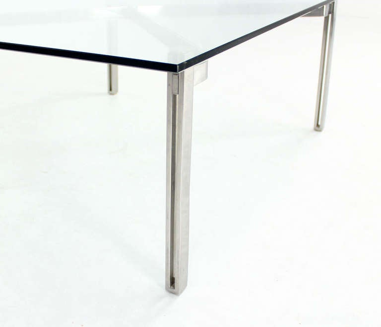 Solid Chrome Split Bar Base Glass Top Coffee Table Mid