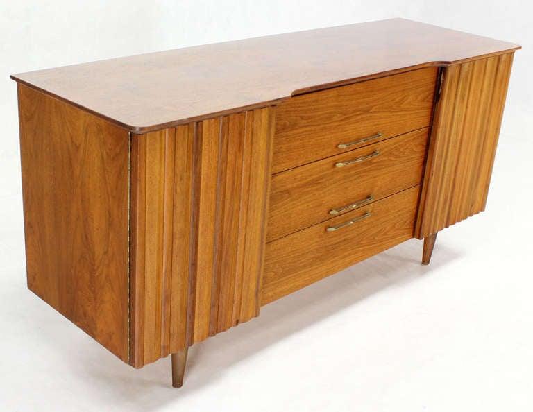 Mid Century Danish Modern Long Walnut Dresser For Sale 1