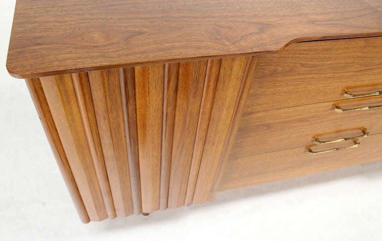 Mid Century Danish Modern Long Walnut Dresser For Sale 3