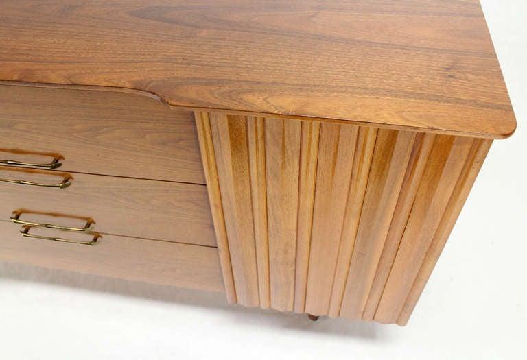 Nice Danish modern style long walnut credenza dresser.