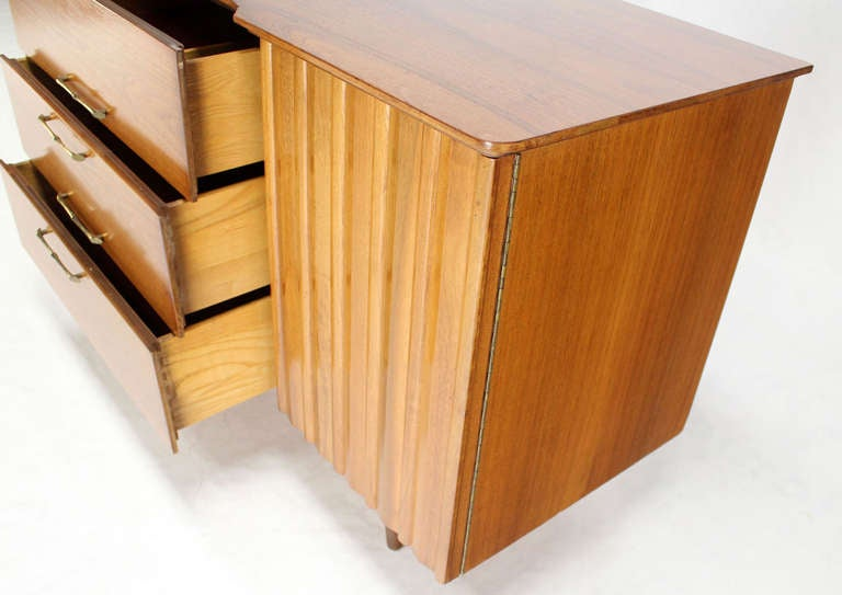 American Mid Century Danish Modern Long Walnut Dresser For Sale