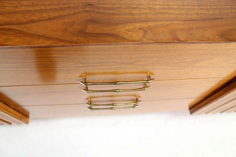 Lacquered Mid Century Danish Modern Long Walnut Dresser For Sale