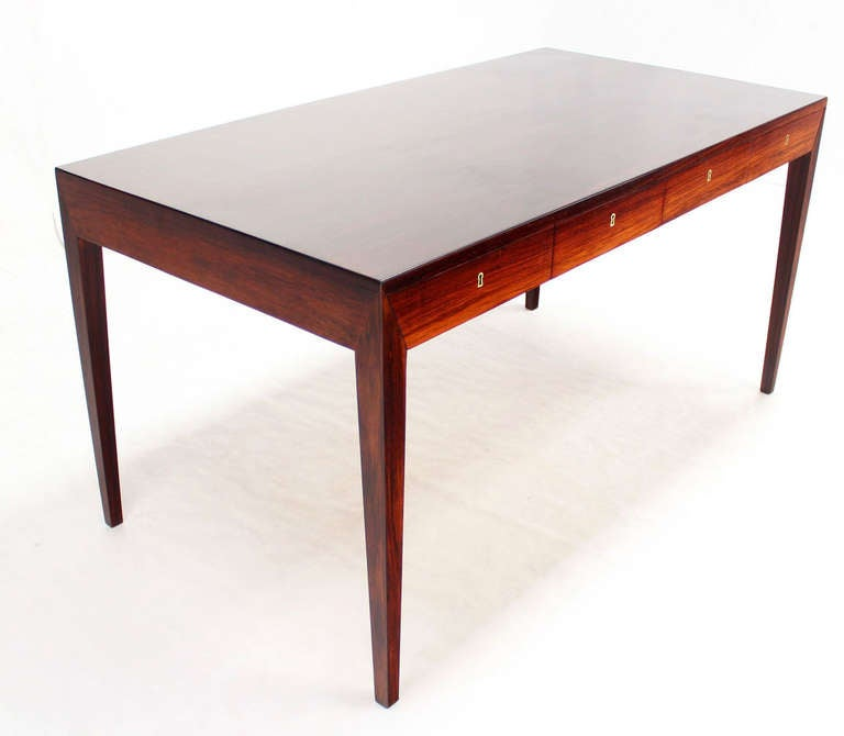 rosewood danish modern writing table desk with four drawers at 1stdibs