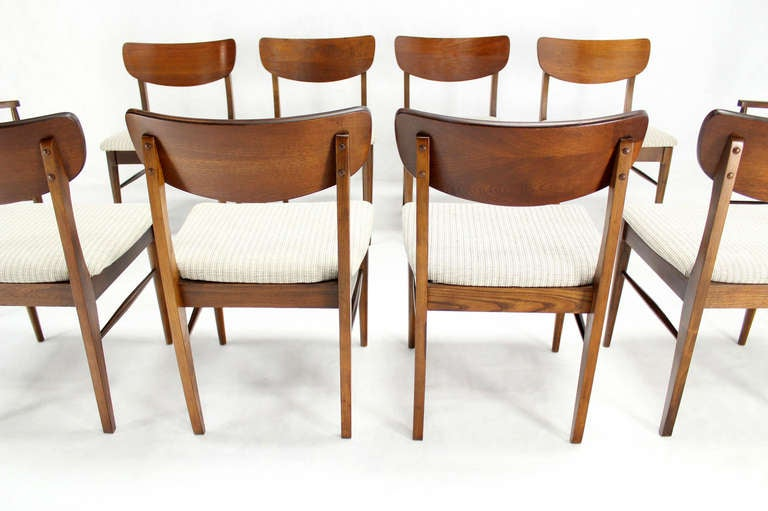 set of ten walnut dining chairs mid century modern
