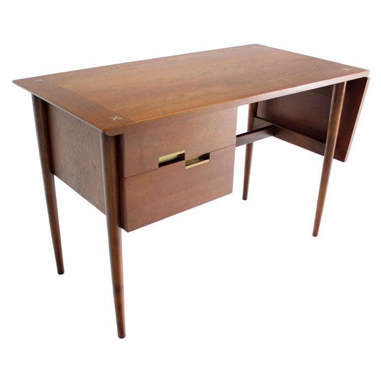 Danish Mid Century Modern Walnut Drop Leaf Desk At 1stdibs