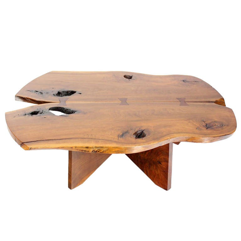 Century Modern Walnut Coffee Table In Style Of Nakashima At 1stdibs