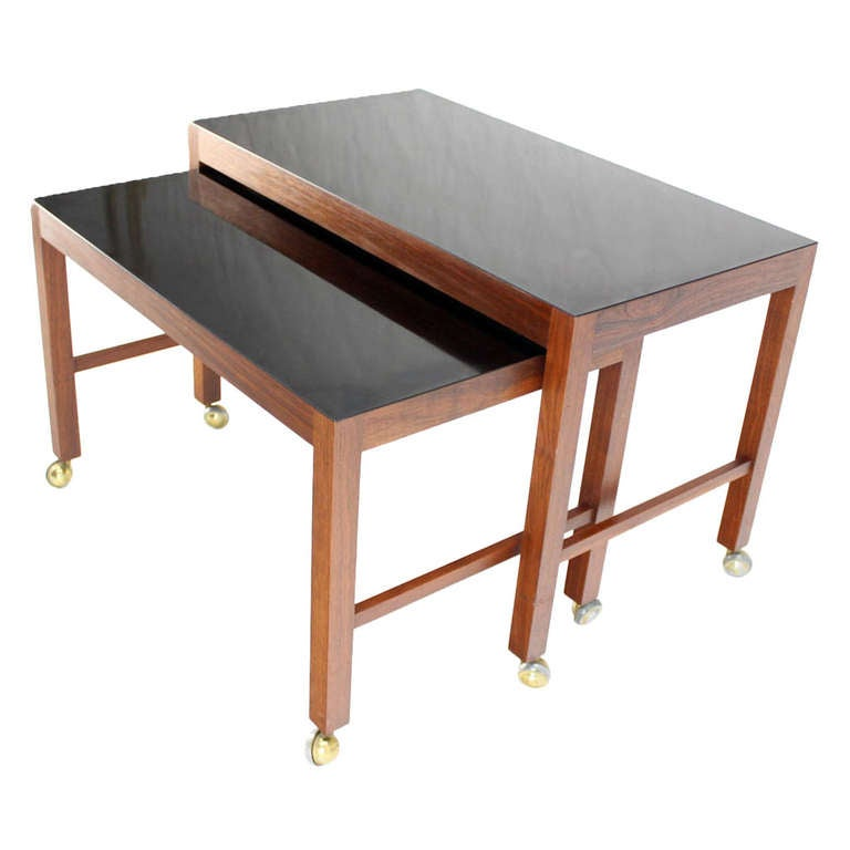 Large Danish Mid-Century Modern Walnut Nesting Tables