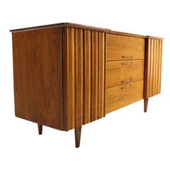 Mid Century Danish Modern Long Walnut Dresser