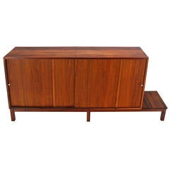 Mid-Century Danish Modern Solid Oiled Walnut Credenza with Sliding Doors