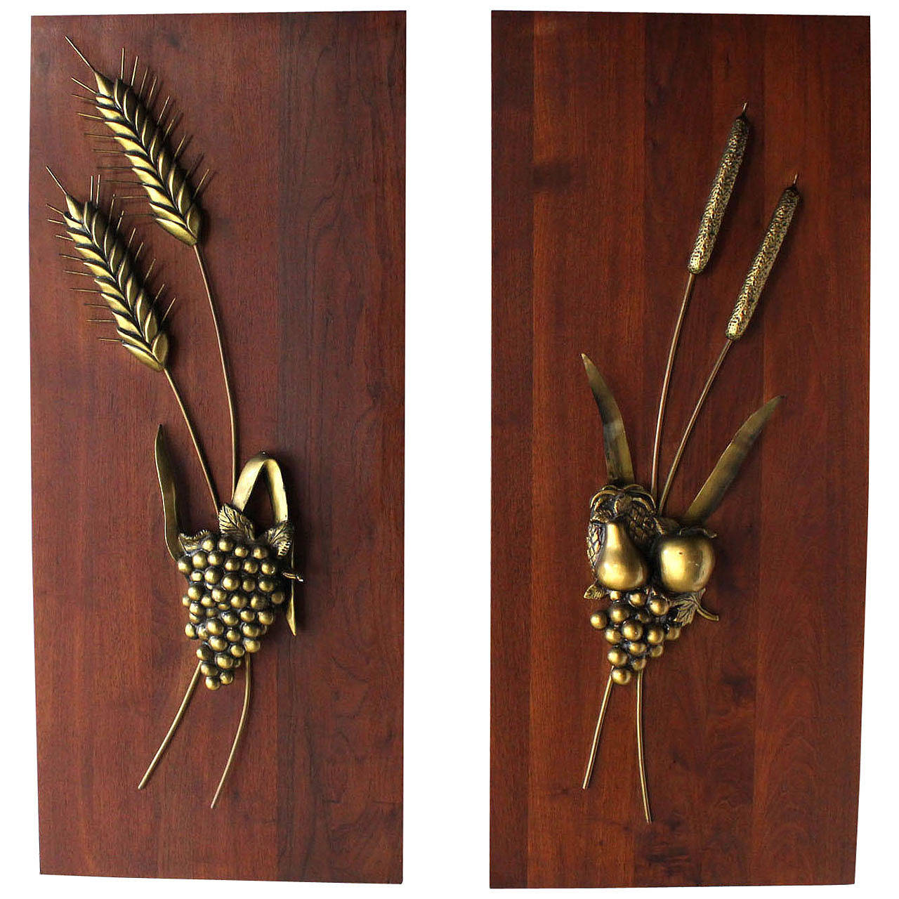Non-Matching Pair of Cast Metal Sculptures on Solid Walnut Mount Board