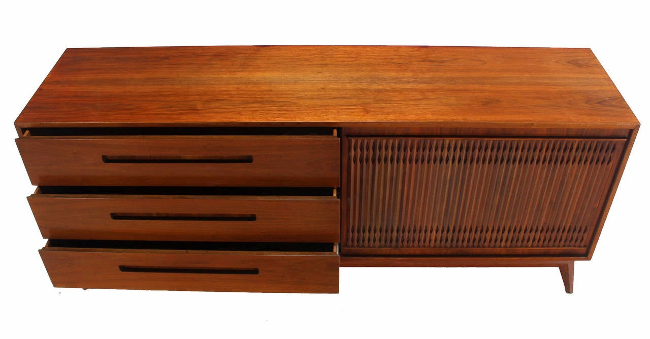 Danish Mid Century Modern Walnut Long Credenza Dresser with Sliding Door For Sale 2