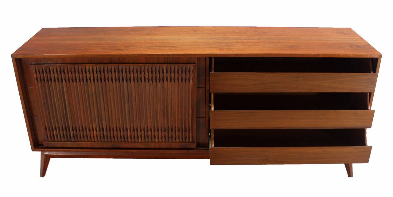 Danish Mid Century Modern Walnut Long Credenza Dresser with Sliding Door For Sale 3