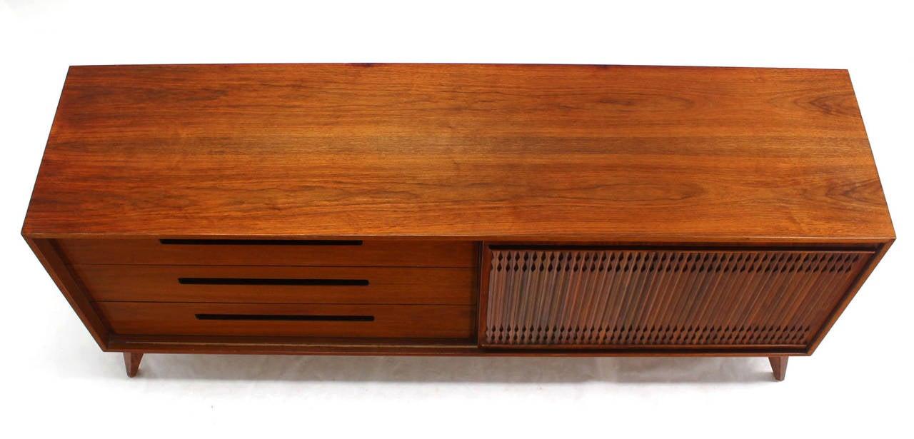 Danish Mid Century Modern Walnut Long Credenza Dresser with Sliding Door For Sale 1