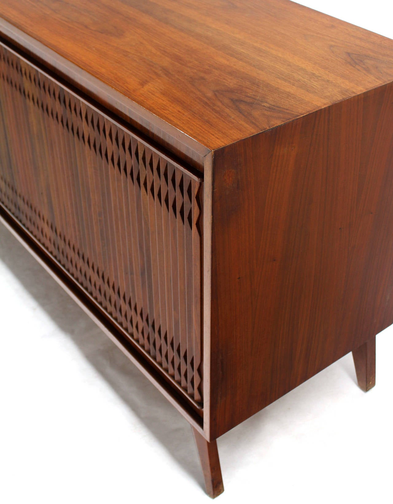 Lacquered Danish Mid Century Modern Walnut Long Credenza Dresser with Sliding Door For Sale