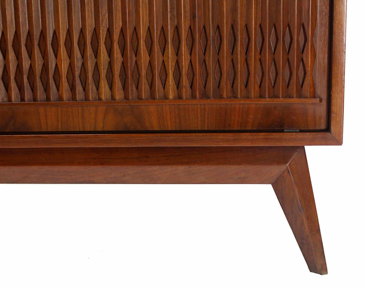 American Danish Mid Century Modern Walnut Long Credenza Dresser with Sliding Door For Sale