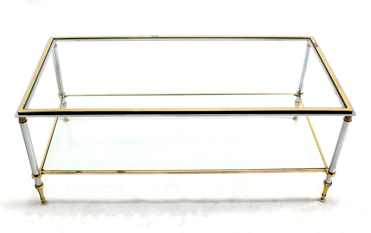 Brass Chrome And Glass Top Mid Century Modern Rectangular Coffee Table At 1stdibs