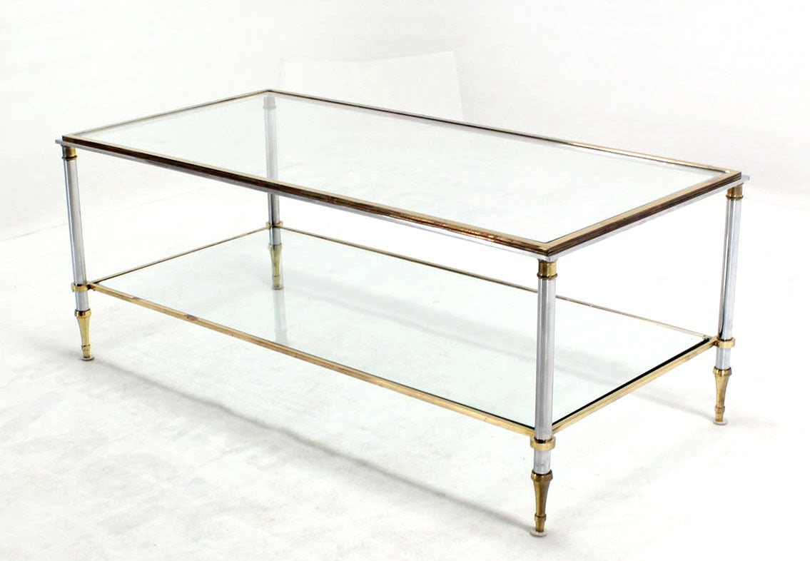 Marvelous Brass Chrome And Glass Top Mid Century Modern Rectangular Coffee Table 2