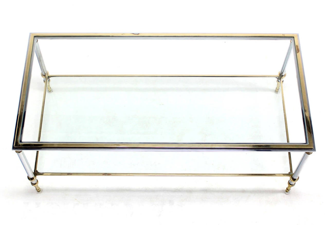 Brass chrome and glass top mid century modern rectangular for Rectangular coffee table with glass top