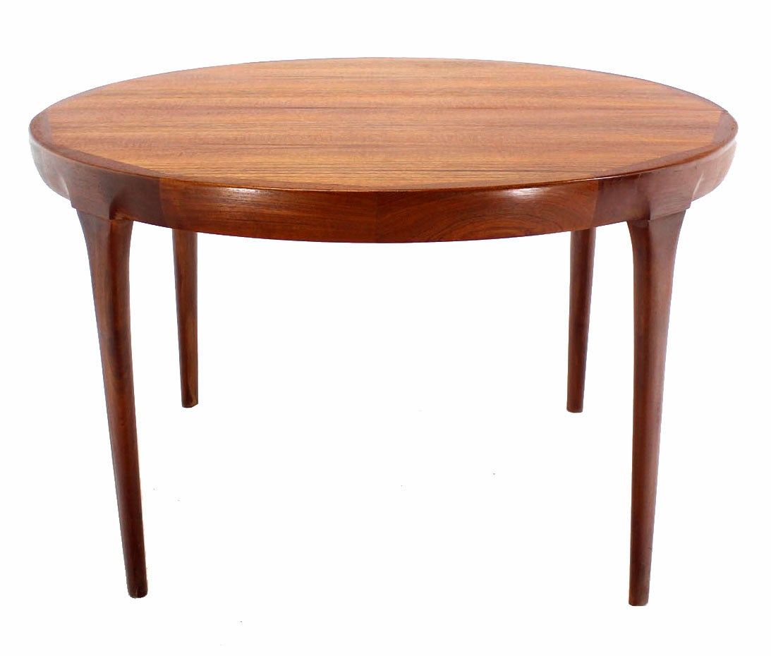 danish mid century modern round teak dining table with two