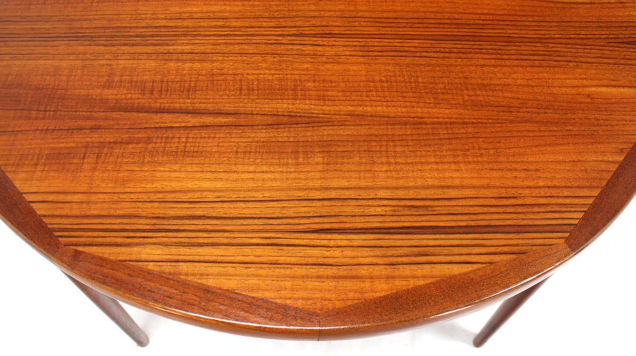 Danish Mid Century Modern Round Teak Dining Table With Two Leaves 3