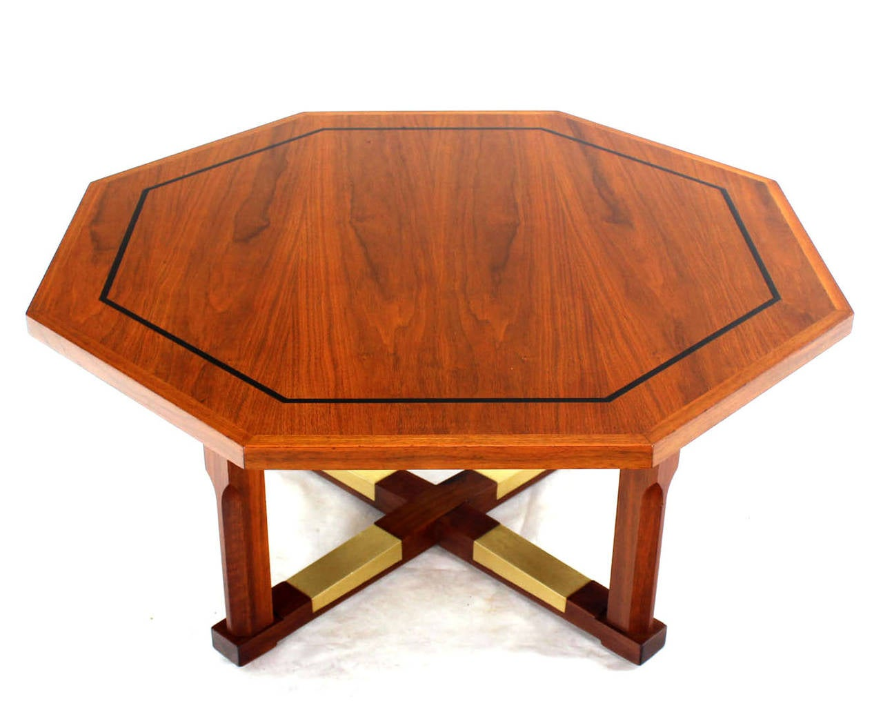 Mid century modern walnut hexagon coffee table with x base for X coffee tables