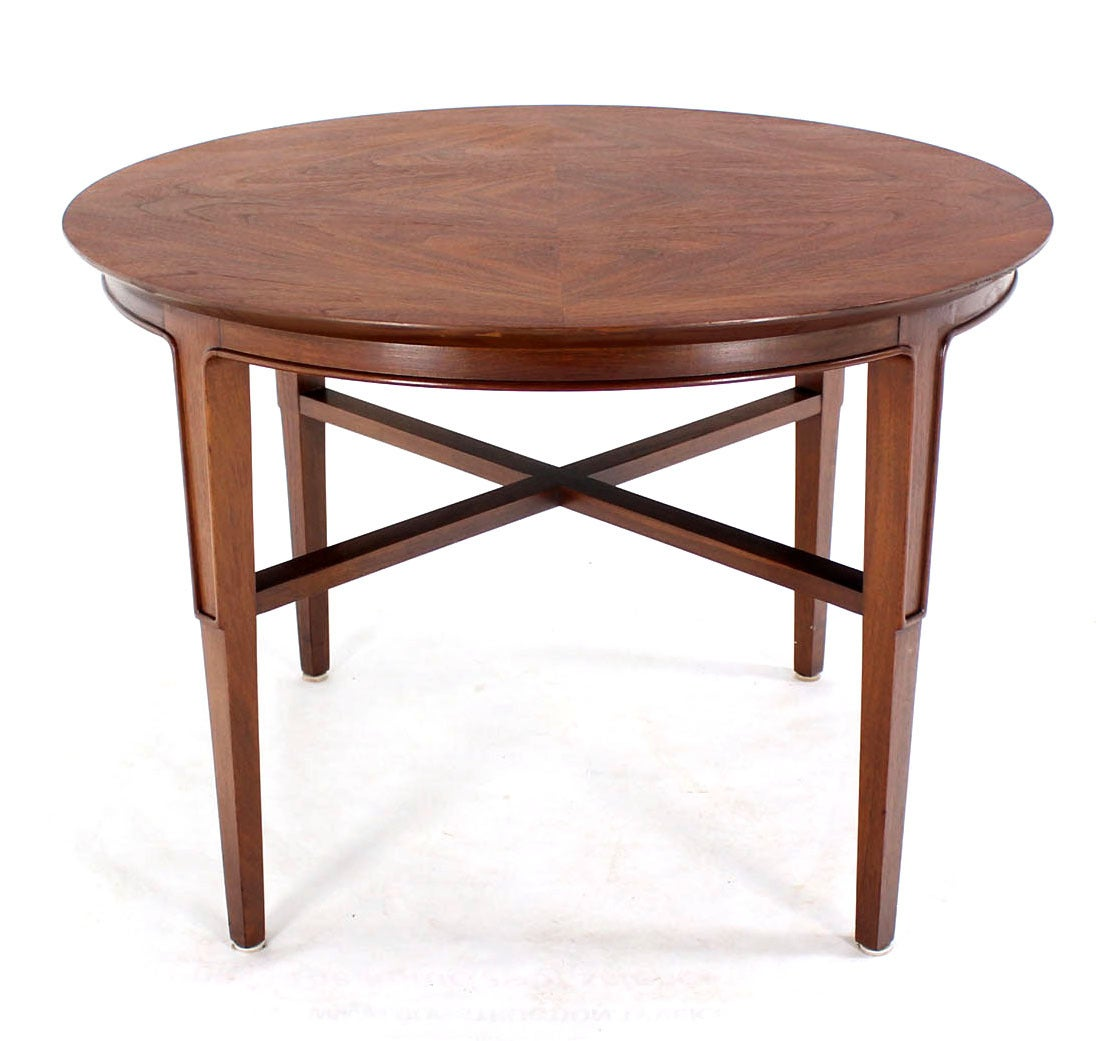 John Stuart Mid-Century Modern Walnut Round Side Table at 1stdibs