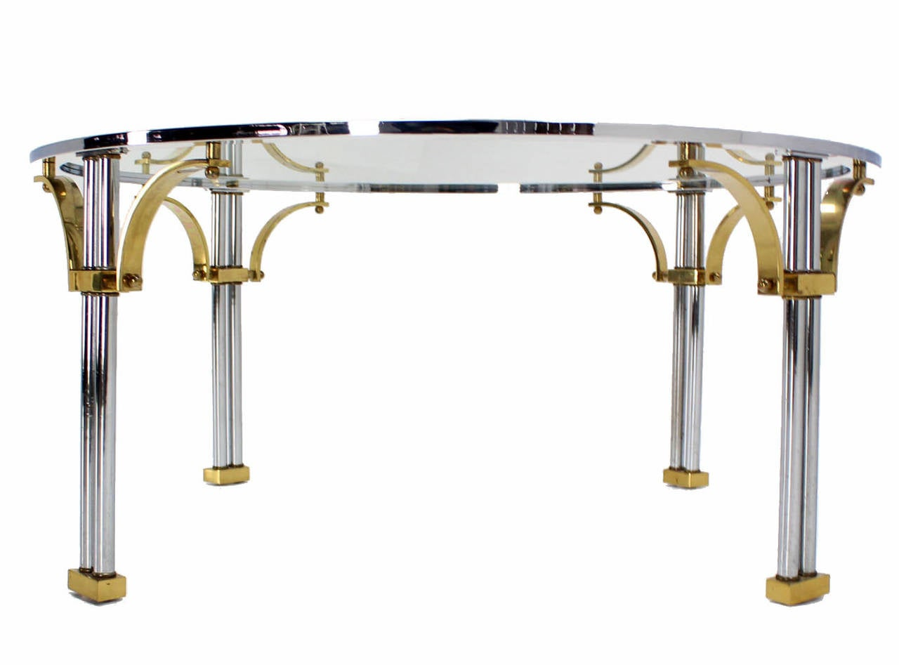 Mid century modern chrome brass and glass round coffee for Round glass coffee tables for sale