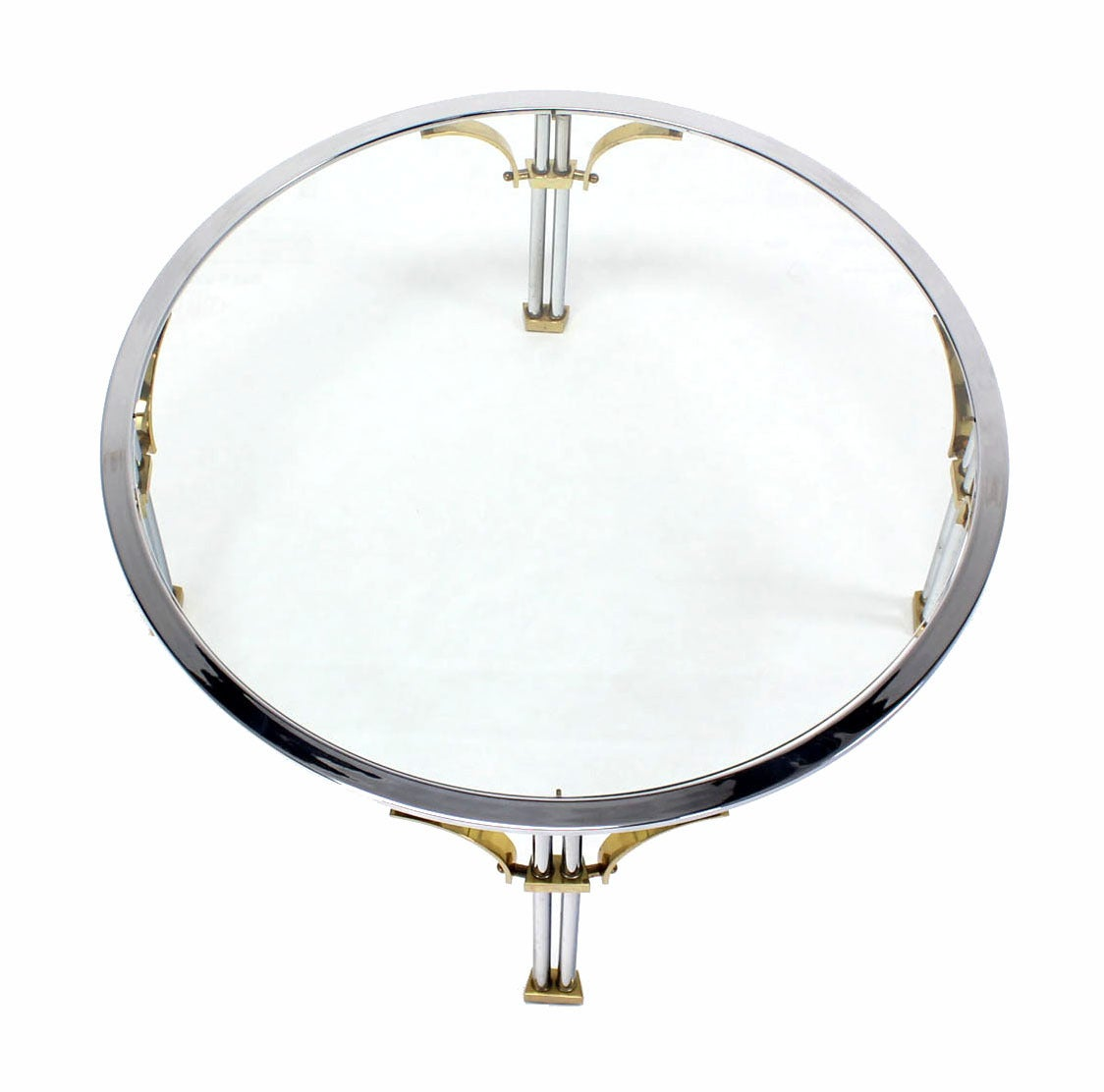 Mid Century Modern Chrome Brass and Glass Round Coffee Table For Sale 1