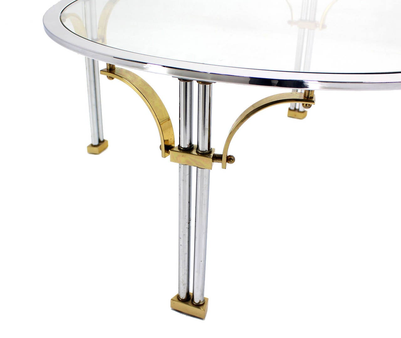 American Mid Century Modern Chrome Brass and Glass Round Coffee Table For Sale
