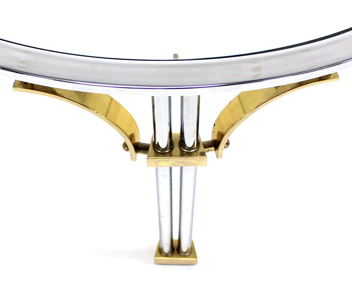 Mid-Century Modern Mid Century Modern Chrome Brass and Glass Round Coffee Table For Sale